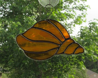 Stained Glass Amber and White Wispy Translucent Conch Shell Suncatcher