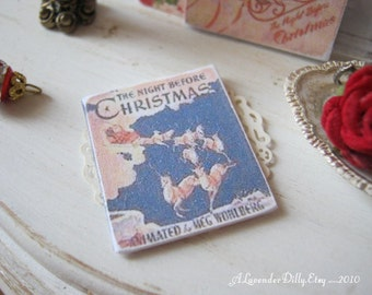 Blue Night Before Christmas Vintage Book for Dollhouse.
