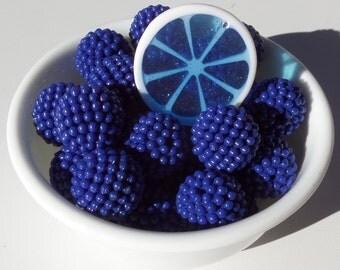 8CT, 20mm Chunky Dark Blue Berry Beads, G35