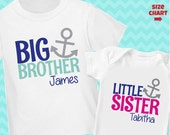 Anchor Big Brother Shirt & Anchor Little Sister Shirt or Bodysuit - 2 Personalized Anchor Shirts