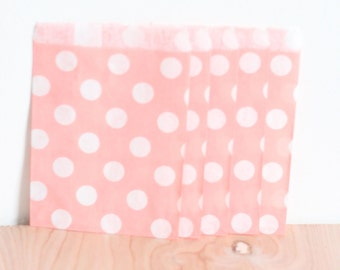 Paper Candy Bags 20 Count // Blush Pink Polka Dot, 5x7 Merchandise, Wedding Favor, Candy Buffet, Gift Bag, Bridal or Baby Shower Party Bags