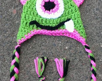 FREE SHIPPING - Cute Crochet - One Eye Alien Monster Earflap Style Hat - Braided Tails - Available In Sizes: Newborn - Photo Prop