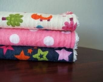 Burp Cloth Set Girl - Baby Girl Burp Cloths - Forest Animals, Stars, Polka Dots - Pink, Blue, Green - Woodland Nursery - Baby Gift