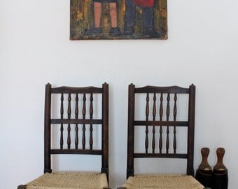 Antique woven Chairs - Set of 2