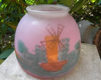 nice vintage antique 1920s hand painted dutch holland WINDMILL light LAMP SHADE