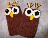 owl crochet fingerless mittens