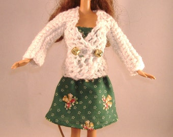Barbie White Sparkle Crocheted Sweater with Strapless Dress of Green with Gold Christmas Bells