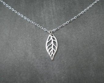 Sterling Silver Leaf Necklace, Spring, Autumn Leaf, Fall, Leaf Necklace, Nature, Tree, Gift for her, Leaves