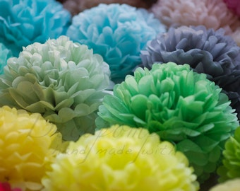 21 mixed size tissue paper Pompoms set - pick your colors - fullest pompoms