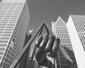 The Joe Louis Fist Detroit Skyline - New Vintage Photograph - Black and White