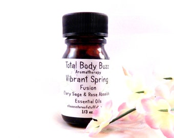 Aromatherapy Essential Oil - Viberant Spring Fusion Blend - Clary Sage Rose Absolute - Spa Supply - Soap Making Supply - Craft Supplies