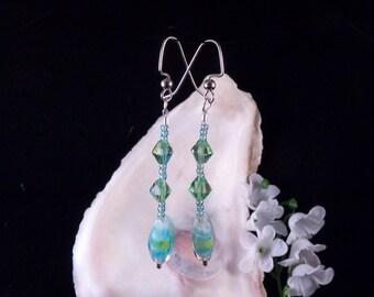 Green-Blue Earrings - Dangling Earrings - Green Earrings - Blue Earrings - Green Handmade Costume Jewelry - Free Shipping Made in USA