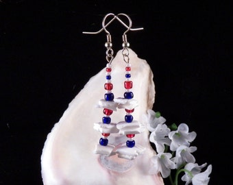 Patriotic Earrings - Red White Blue Earrings - Shell Earrings - Glass Beaded Earrings - Handmade Costume Jewelry - Made in USA - Free Ship