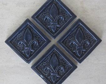 Ceramic Accent Tile -- Set of 4 Fleur de Lis 2x2 tiles in Navy Blue glaze, Kitchens, Bathrooms, Handmade tile, IN STOCK