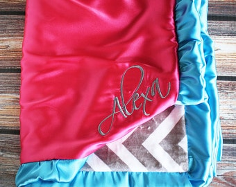 Minky Blanket, embroidered blanket, little girl blanket, monogrammed blanket, personalized blanket, pink and chevron, blanket with name