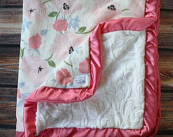 Floral minky, coral minky, baby girl minky,Adult minky blanket, baby gift, floral blanket, pink blanket, baby girl blanket,