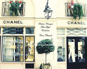 Chanel Art-Paris Boutique- Coco Chanel-Quote-Fashion Theme- France -Preppy Print- Dorm-Travel-Romantic-Nursery-Vintage-Paris color-Romantic