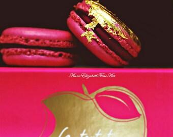 Laduree,Pink, Fushia Art, Macaroon Photography,Macaron Art,Sweet,Pastry,Gold,Raspberry, Color, Paris, Food Photography, Kitchen,Fashion,Dorm