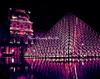 Paris Wall Art, Paris in Pink, Louvre,Fashion Wall Art,Dorm,Preppy,Purple,Pop Art,Travel,Teen Decor,Paris Night,Paris Rain Print,Color,Black