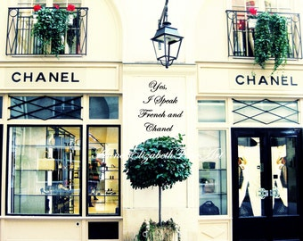 Yes, I Speak French And Chanel, Fine Art Photograph, Fashion, Quote, Paris, Parisian, Balcony, Nursery, Dorm, French Kitchen, Romance, Color