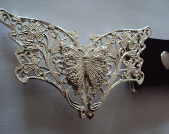Solid Sterling Silver Butterfly with a Butterfly Centrepiece Belt Buckle complete with Leather Belt