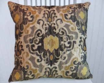Grey Gold Ikat Pillow Cover- 18x18 or 20x20 or 22x22 Duralee Decorative Throw Pillow Accent Pillow