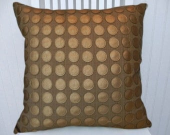 Copper Decorative Pillow Cover 18x18 or 20x20 or 22x22 Faux Leather Throw Pillow- Accent Pillow