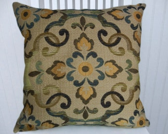 Blue Green Chenille Pillow Cover-- NEW 18x18 or 20x20 or 22x22 Chenille Accent Pillow, Throw Pillow--Sand, Yellow,