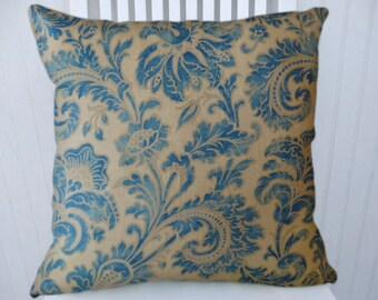 Blue Decorative Pillow Cover 18x18 or 20x20 or 22x22- Floral Throw Pillow- Accent Pillow Cover.