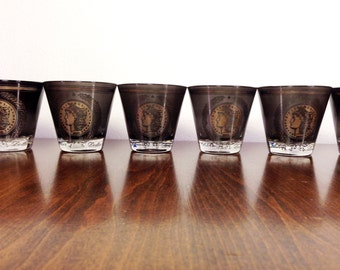 Mid Century Glasses Sterling Silver and Black Coin Glasses Silver Dollar