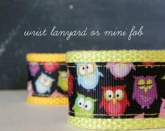 Owl Wrist Lanyard, Wristlet Key Fob, Bright Owls Ribbon and Webbing Key Chain, Lanyard Keychain, Great Teacher or Back-to-School