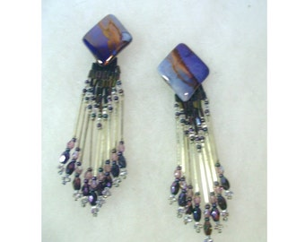Vintage Hand Crafted Ceramic Earrings with Removable Beaded Fringe - Purple