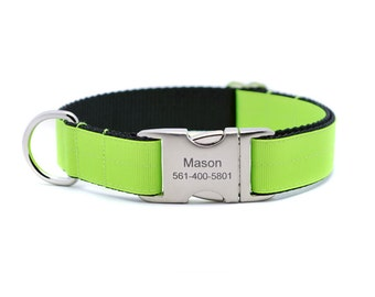 Neon Yellow Ribbon & Webbing Dog Collar with Laser Engraved Personalized Buckle