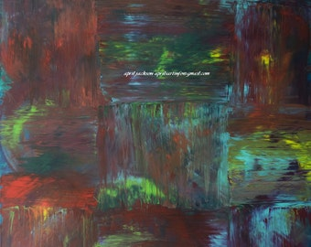 Don't Follow the Plan Red Green Yellow Blue Abstract Expressionist Painting 48x72 4x6