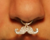 Thick Septum Cuff with Mustache © - silver (fake nose ring) Movember Jewellery No Piercing Required Fake Septum Ring, 18 gauge