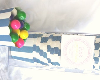 Small Navy Stripe-Boxed-Nut/Candy/Baking Cups-20ct--Parties--cupcakes-gumballs-snacks