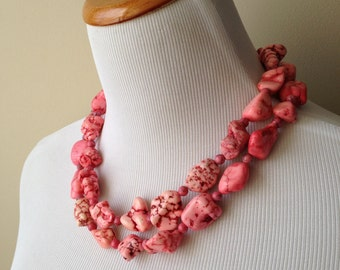 Bubblegum Cowgirl Necklace -  Pink Turquoise Double Strand Necklace and Earring Set- Inspired by Megan Fox - Bianca Collection