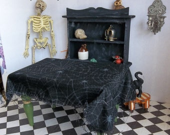 Dollhouse Table Cloth Spooky Spider Web for 1:12 Scale Miniature Halloween or Witches Kitchen
