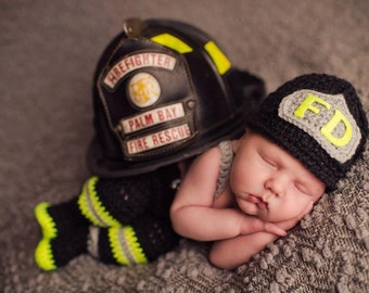 CROCHET PATTERN, Newborn Size, Baby Firefighter Fireman Hat, Pants, Suspenders & Boots Photography Prop