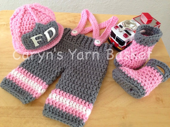 Crochet Patterns For Baby Frocks : Baby Girl Firefighter Fireman Crochet Hat Outfit 4 pc Turn