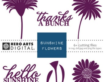 Hero Arts Sunshine Flowers DT105 Digital Cutting Files