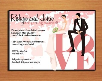 Couple on LOVE / Love Park Philadelphia Statue Bridal Shower Printable Invitations /  DIY
