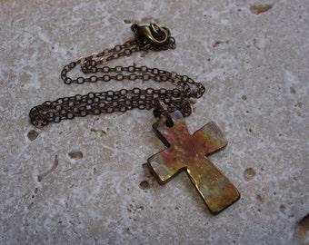 Cross necklace in bronze