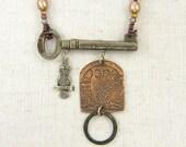 Owl Necklace, Etched Metal Necklace, Skeleton Key Necklace, Mixed Metal Necklace, Copper Brown Silver Bird Woodland Gemstone Bead Jewelry