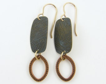 Dark Brass Earrrings, Textured Metal Earrings, Mixed Metal Earrings, Oxidized Earrings, Brass Copper Rustic Dangle Earrings