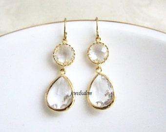 Wedding Earrings Bridal Jewelry Gold Drop Dangling Clear Crystal Transparent Glass Modern Bride Elegant Bridesmaids Earrings Set Gift C1 JW