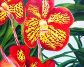 Tiger Orchid/ Large Original Acrylic Painting on Stretched Canvas/ Botanical Art/ Asian Art/ Floral Painting