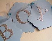 Baby Boy Banner - Pale Blue & Silver Glitter - Baby Shower, New Baby, Christening