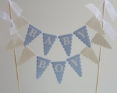 Baby Boy Cake Bunting - Baby Shower Cake Topper - Pale Blue and White
