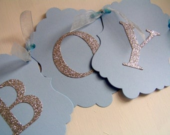 Baby Boy Banner - Pale Blue & Silver Glitter - Baby Shower, New Baby, Christening